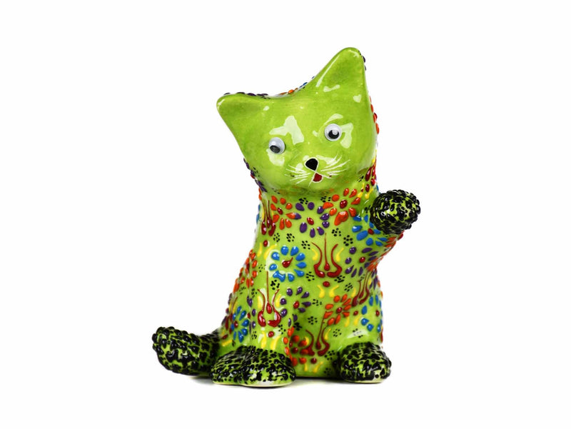 Turkish Ceramic Cat Figurine Dantel Playful Light Green Ceramic Sydney Grand Bazaar
