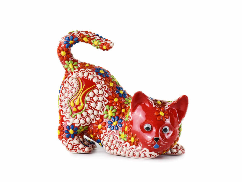 Turkish Ceramic Cat Figurine Dantel Red Tail Up Design 1 Ceramic Sydney Grand Bazaar