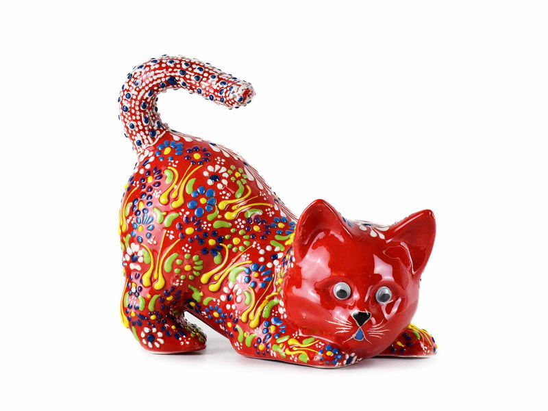 Turkish Ceramic Cat Figurine Dantel Red Tail Up Design 2 Ceramic Sydney Grand Bazaar