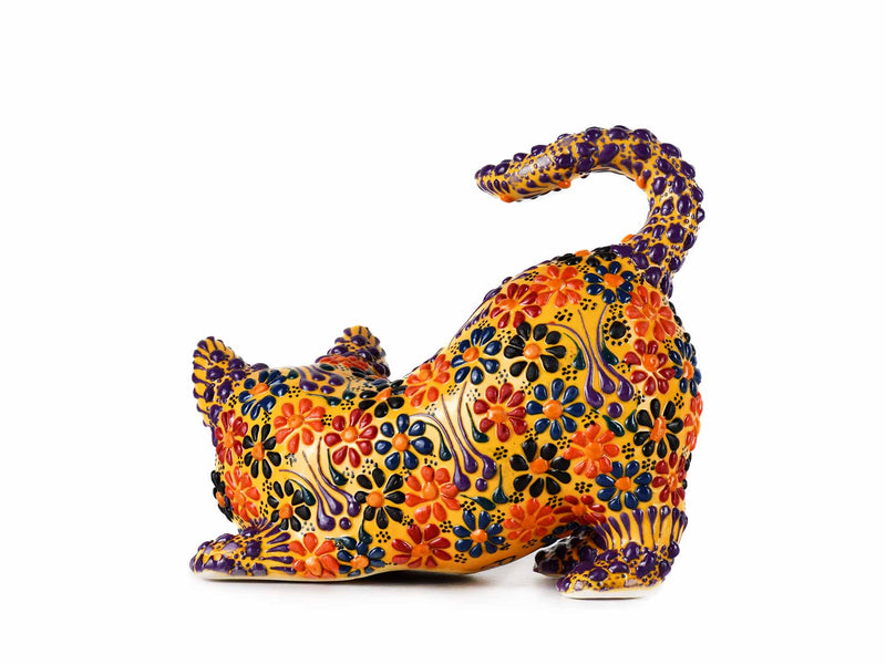 Turkish Ceramic Cat Figurine Dantel Yellow Tail Up Design 1 Ceramic Sydney Grand Bazaar