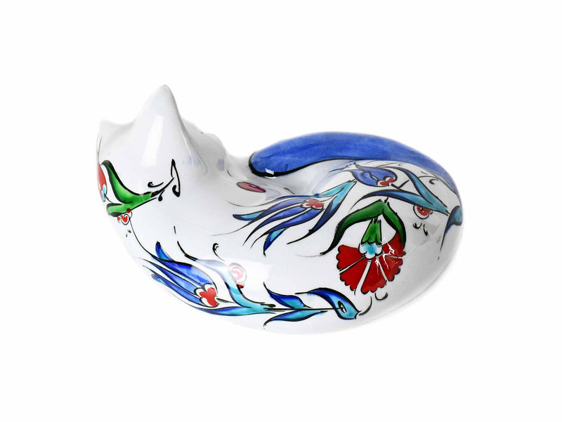 Turkish Ceramic Cat Figurine Sleeping Iznik Blue Tail Ceramic Sydney Grand Bazaar