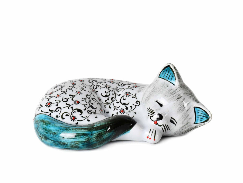 Turkish Ceramic Cat Figurine Sleeping Iznik Turquoise Tail Ceramic Sydney Grand Bazaar