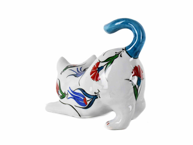 Turkish Ceramic Cat Figurines Iznik Light Blue Tail Up Ceramic Sydney Grand Bazaar