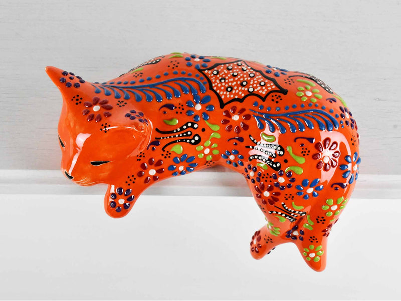 Turkish Ceramic Cat Lazy Style Figurine Dantel Orange Design 1 Ceramic Sydney Grand Bazaar