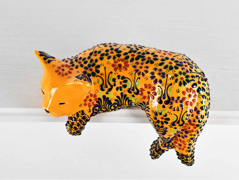 Turkish Ceramic Cat Lazy Style Figurine Dantel Yellow Ceramic Sydney Grand Bazaar