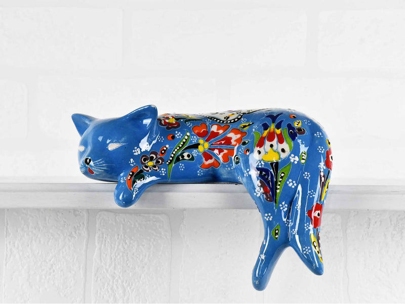Turkish Ceramic Cat Lazy Style Figurine Flower Light Blue Ceramic Sydney Grand Bazaar