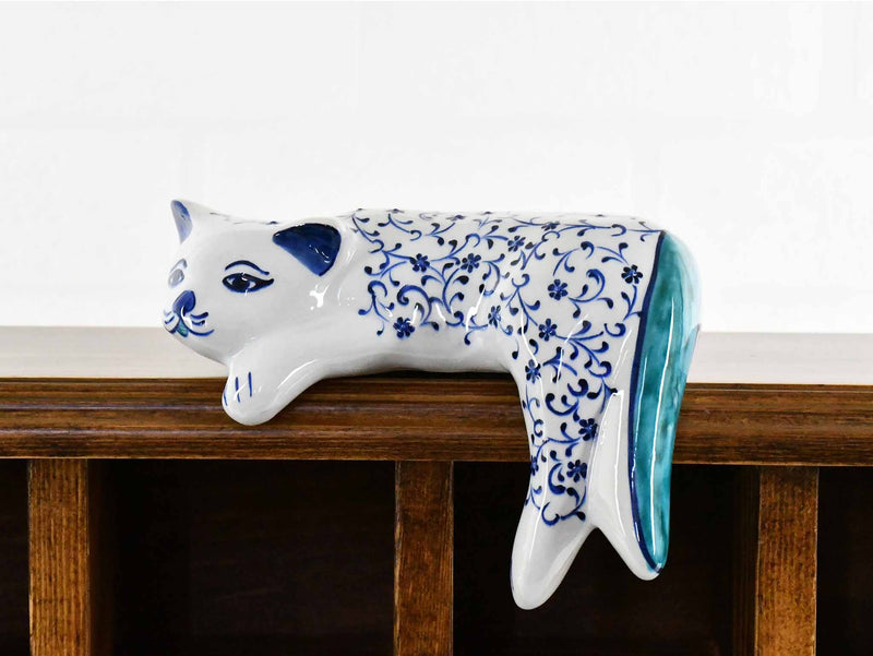 Turkish Ceramic Cat Lazy Style Iznik Daisy Art Blue Small Ceramic Sydney Grand Bazaar