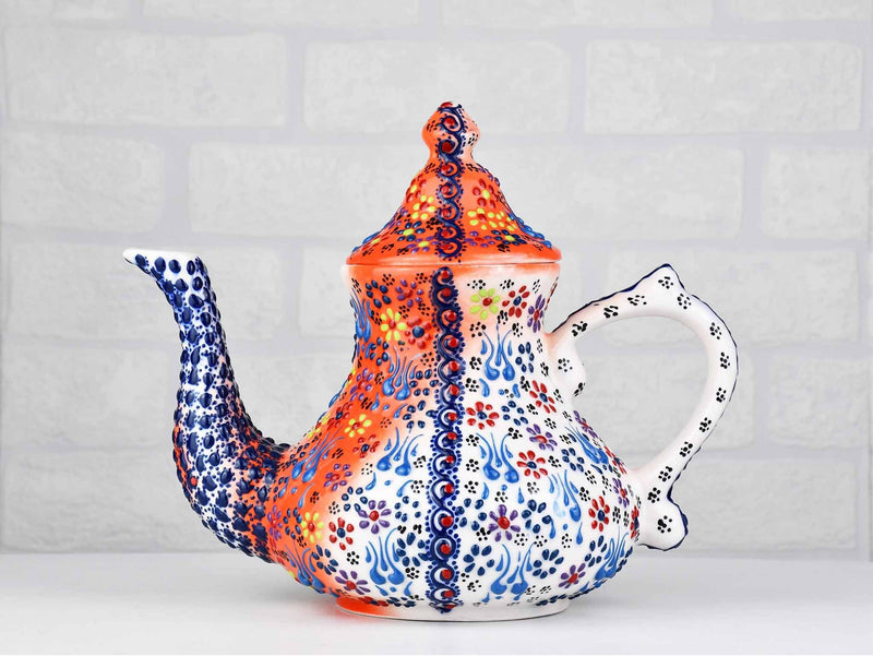 Turkish Ceramic Teapot Dantel Orange Blue Large Ceramic Sydney Grand Bazaar