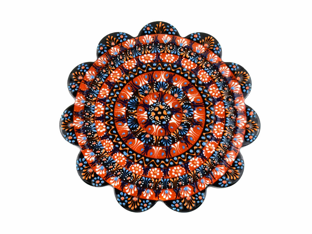 Turkish Ceramic Trivet Dantel Collection Black Orange Ceramic Sydney Grand Bazaar