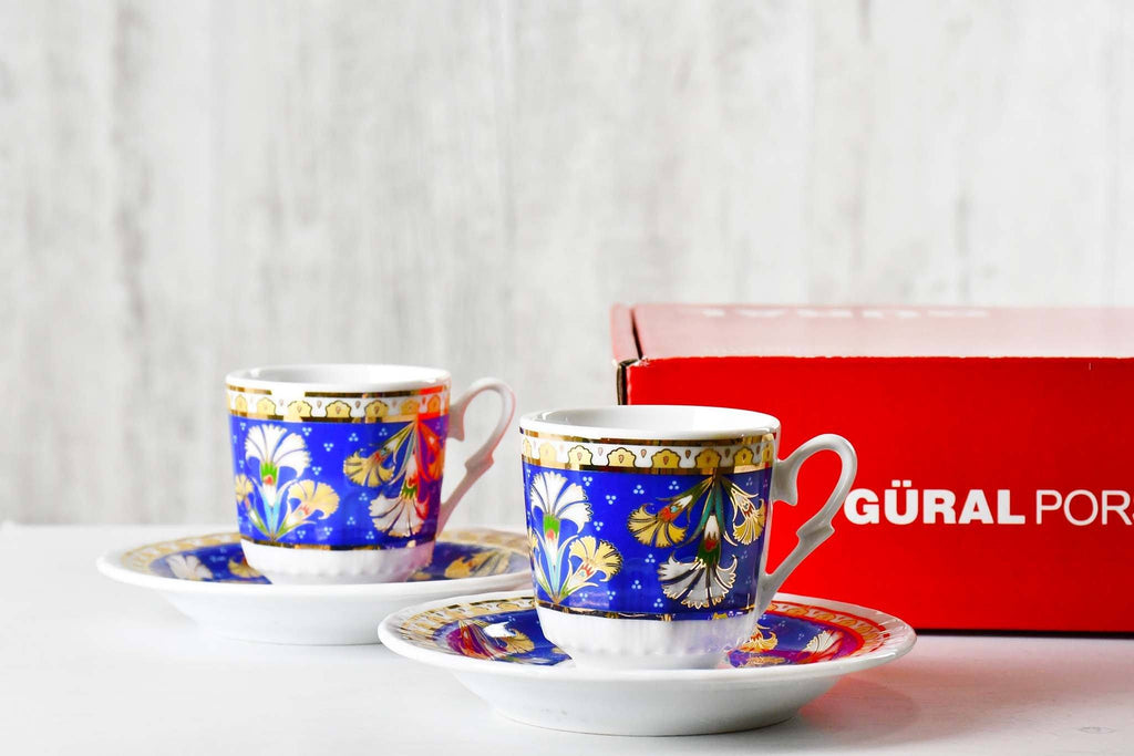 Turkish Coffee Cup Blue Carnation Set of 2 Ceramic Sydney Grand Bazaar
