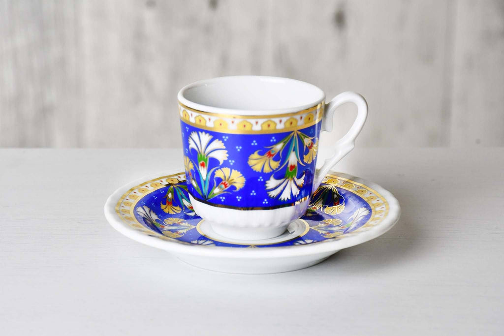 Turkish Coffee Cup Blue Carnation Set of 6 Ceramic Sydney Grand Bazaar