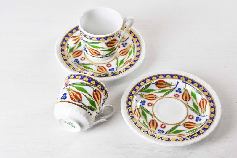 Turkish Coffee Cup Blue Edge Tulip Set of 2 Ceramic Sydney Grand Bazaar