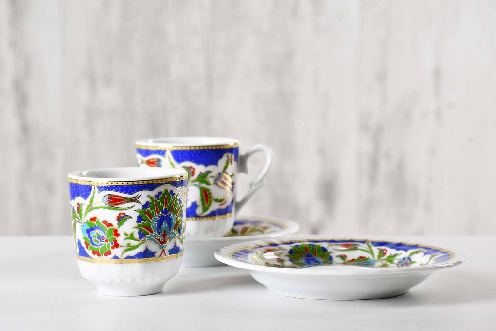 Turkish Coffee Cup Blue White Flower Set of 2 Ceramic Sydney Grand Bazaar