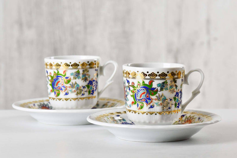 Turkish Coffee Cup Golden Glitter Edge Set of 2 Ceramic Sydney Grand Bazaar