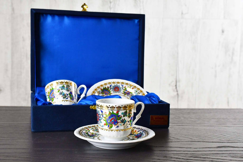 Turkish Coffee Cup Golden Glitter Edge Velvet Box Set of 2 Ceramic Sydney Grand Bazaar