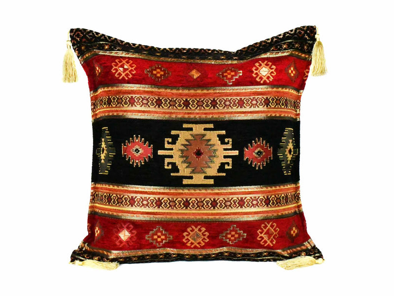 Turkish Cushion Cover Aztec - Black Red Textile Sydney Grand Bazaar