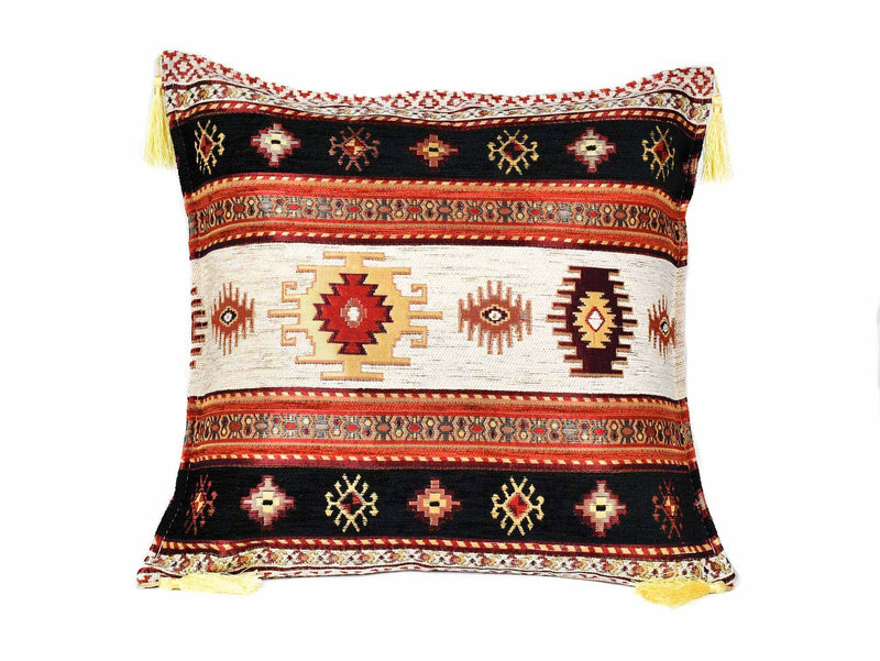 Turkish Cushion Cover Aztec - Light Blue Red