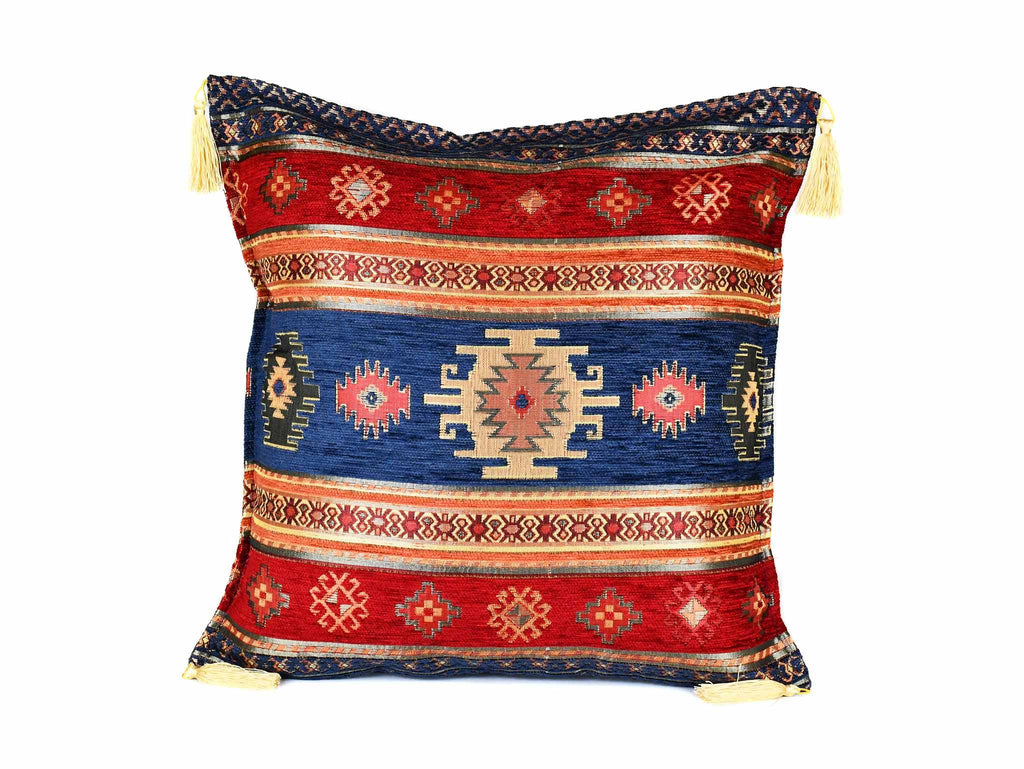Turkish Cushion Cover Aztec - Blue Red Textile Sydney Grand Bazaar