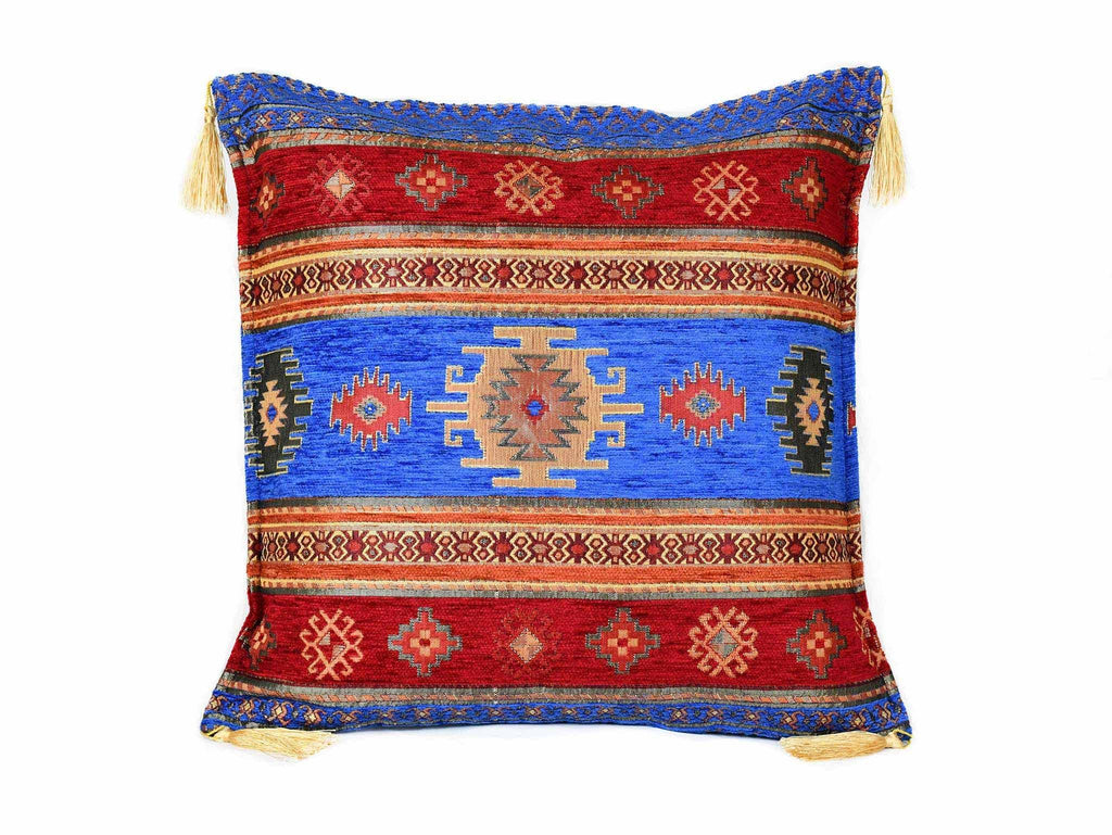 Turkish Cushion Cover Aztec Bright Blue Red Textile Sydney Grand Bazaar