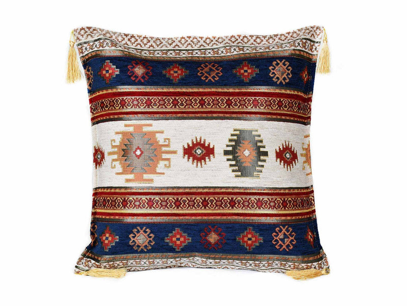 Turkish Cushion Cover Flower - Aqua