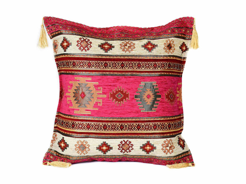 Turkish Cushion Cover Aztec Hot Pink White Textile Sydney Grand Bazaar
