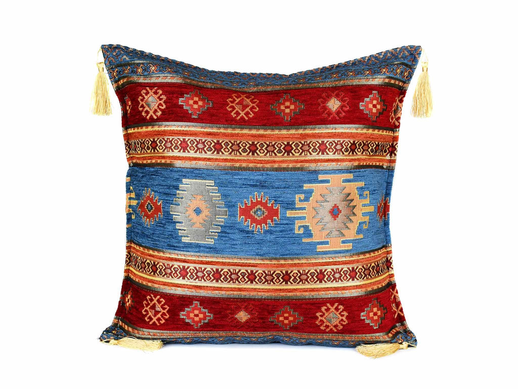 Turkish Cushion Cover Aztec - Light Blue Red Textile Sydney Grand Bazaar