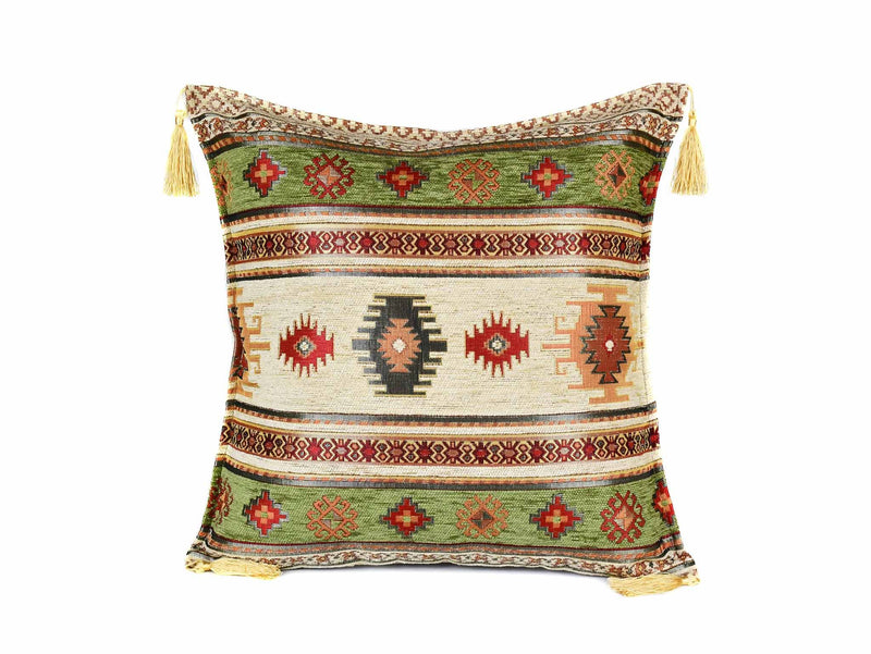 Turkish Cushion Cover Aztec - Light Green Cream Textile Sydney Grand Bazaar