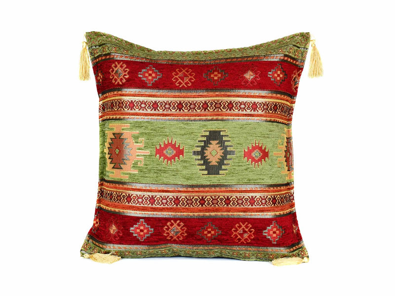 Turkish Cushion Cover Aztec - Light Green Red Textile Sydney Grand Bazaar