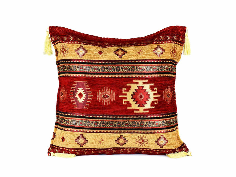 Turkish Cushion Cover Aztec Red Golden Brown Textile Sydney Grand Bazaar