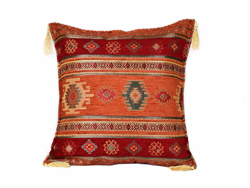 Turkish Cushion Cover Aztec Red Rusty Orange Textile Sydney Grand Bazaar