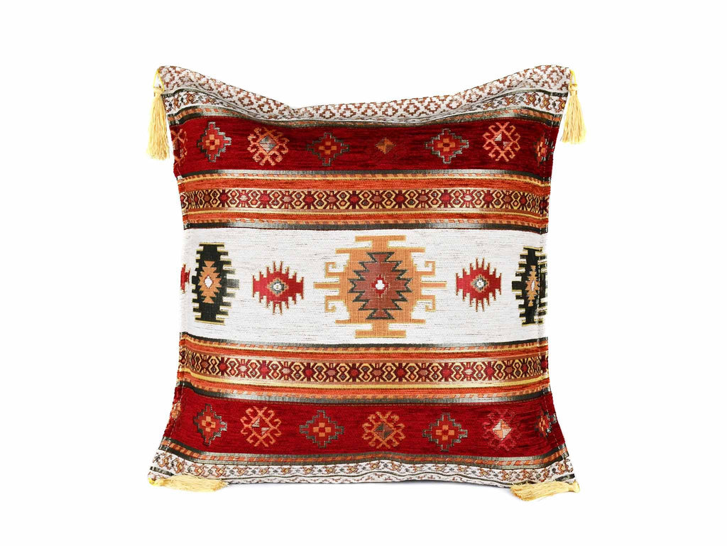 Turkish Cushion Cover Aztec Red White Textile Sydney Grand Bazaar