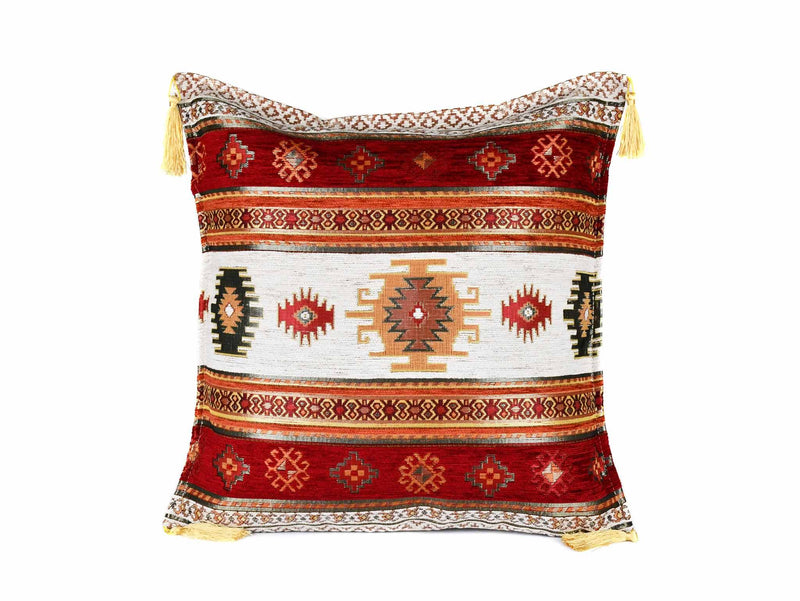 Turkish Cushion Cover Aztec - Orange White