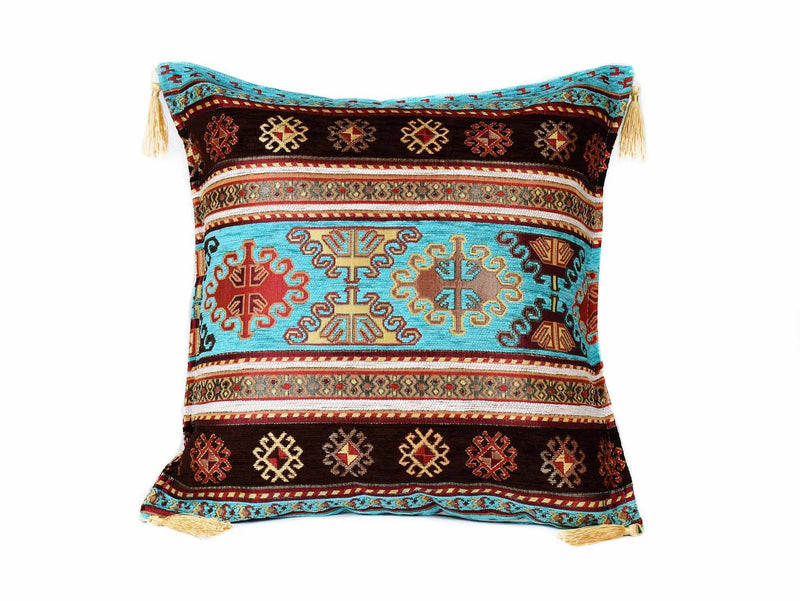 Turkish Cushion Cover Aztec Turquoise Brown Textile Sydney Grand Bazaar