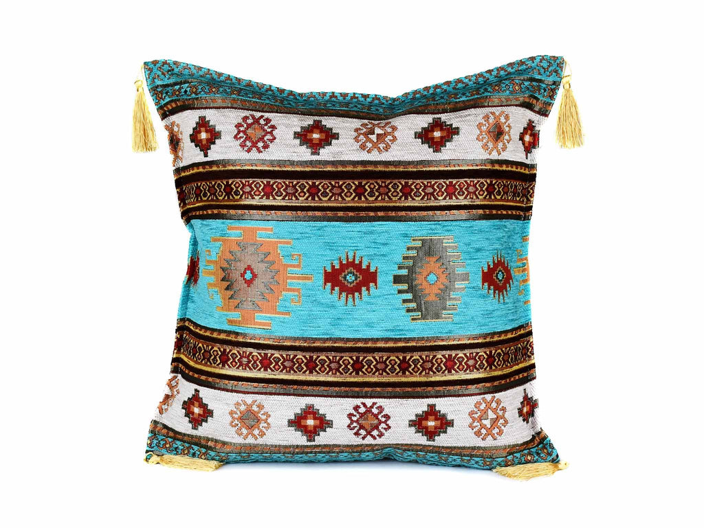Turkish Cushion Cover Aztec - Turquoise White Textile Sydney Grand Bazaar