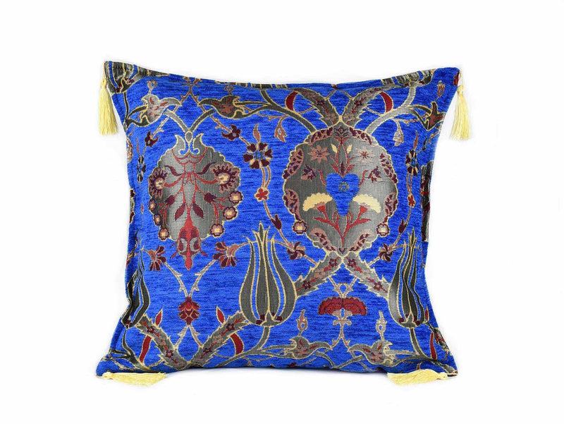 Turkish Cushion Cover Flower Bright Blue Textile Sydney Grand Bazaar
