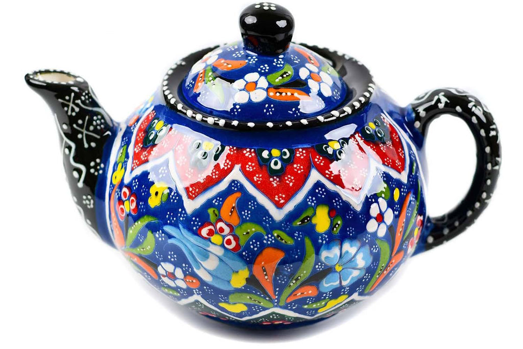 Turkish Decorative Teapot Large Flower Collection Dark Blue 2 Ceramic Sydney Grand Bazaar