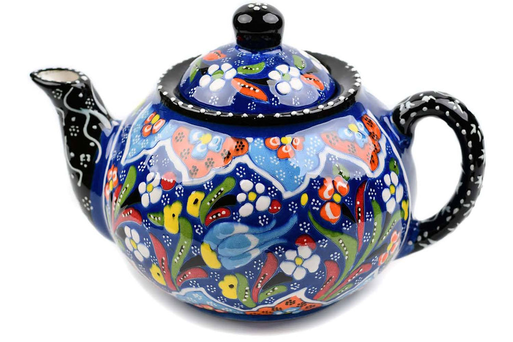 Turkish Decorative Teapot Large Flower Collection Dark Blue Ceramic Sydney Grand Bazaar