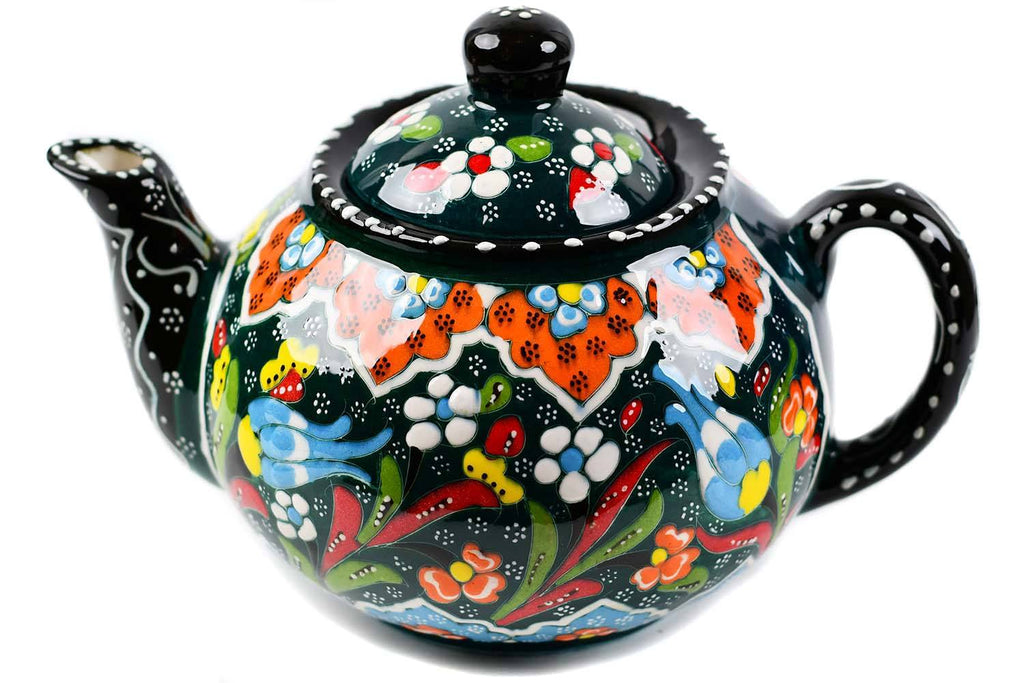 Turkish Decorative Teapot Large Flower Collection Green Ceramic Sydney Grand Bazaar