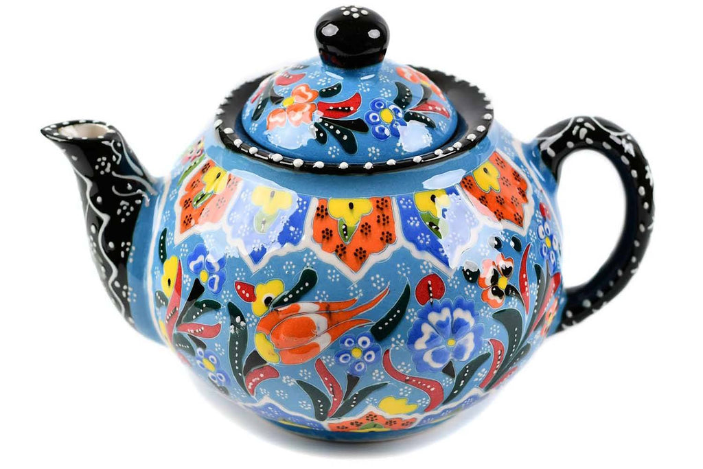 Turkish Decorative Teapot Large Flower Collection Light Blue Ceramic Sydney Grand Bazaar