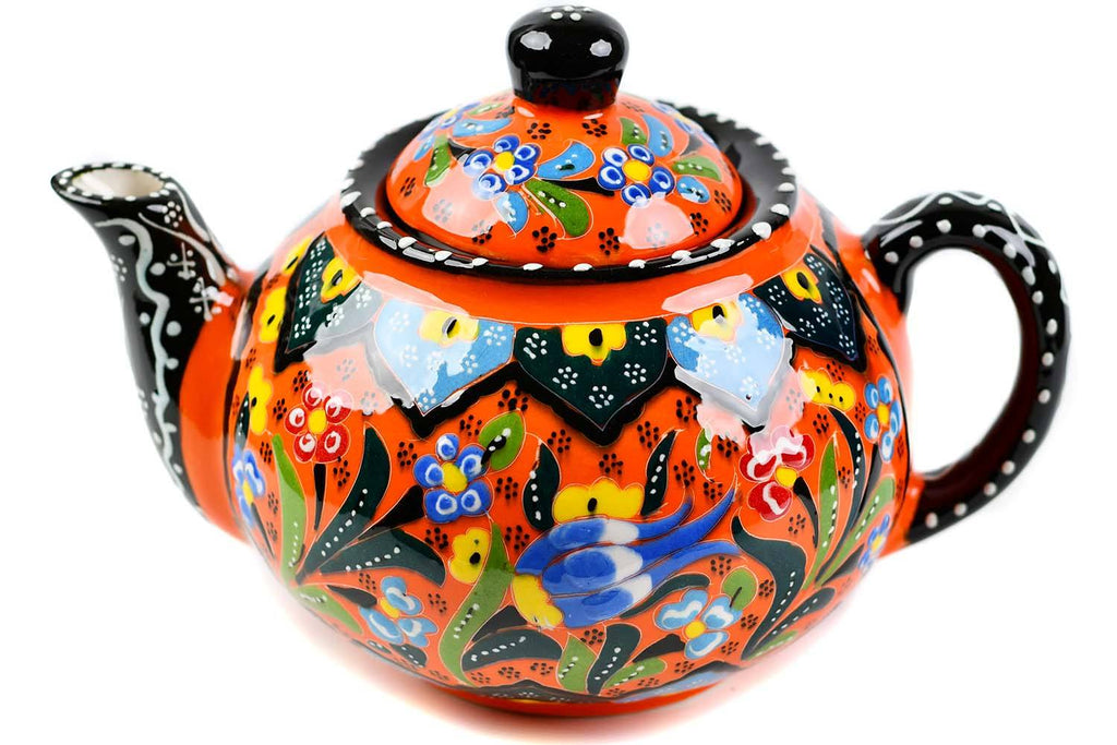 Turkish Decorative Teapot Large Flower Collection Orange Ceramic Sydney Grand Bazaar