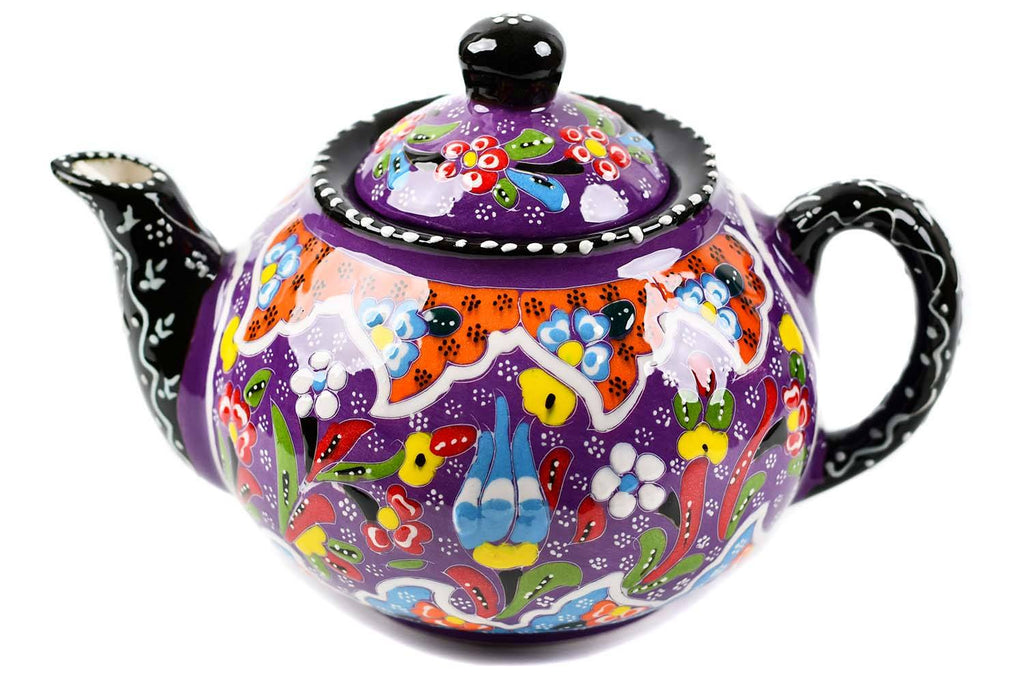 Turkish Decorative Teapot Large Flower Collection Purple 2 Ceramic Sydney Grand Bazaar