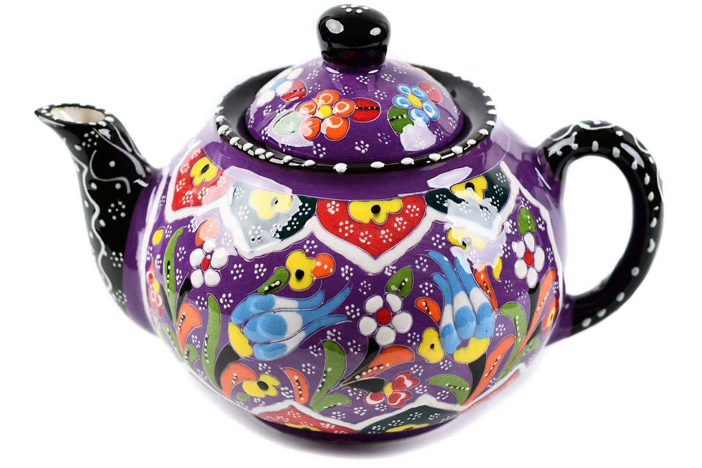 Turkish Decorative Teapot Large Flower Collection Purple Ceramic Sydney Grand Bazaar
