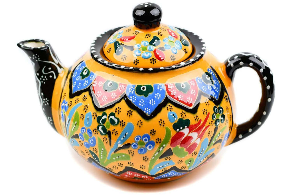 Turkish Decorative Teapot Large Flower Collection Yellow Ceramic Sydney Grand Bazaar