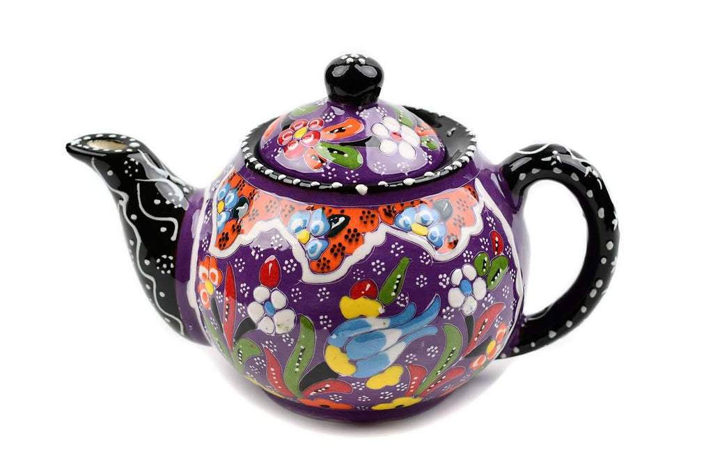 Turkish Decorative Teapot Small Flower Collection Purple 2 Ceramic Sydney Grand Bazaar