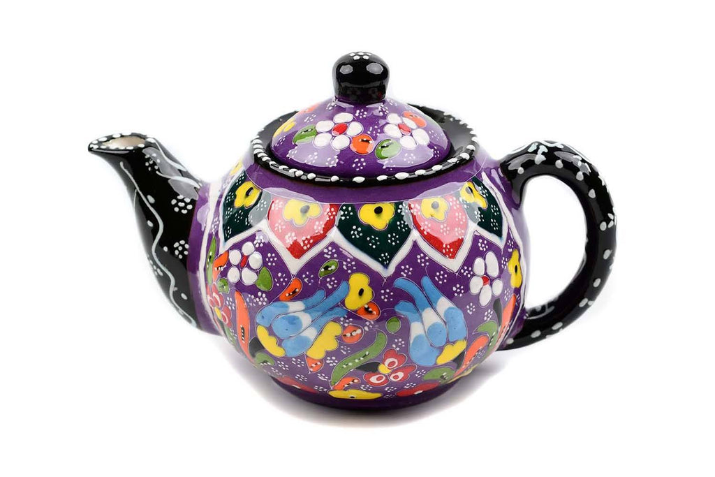Turkish Decorative Teapot Small Flower Collection Purple Ceramic Sydney Grand Bazaar