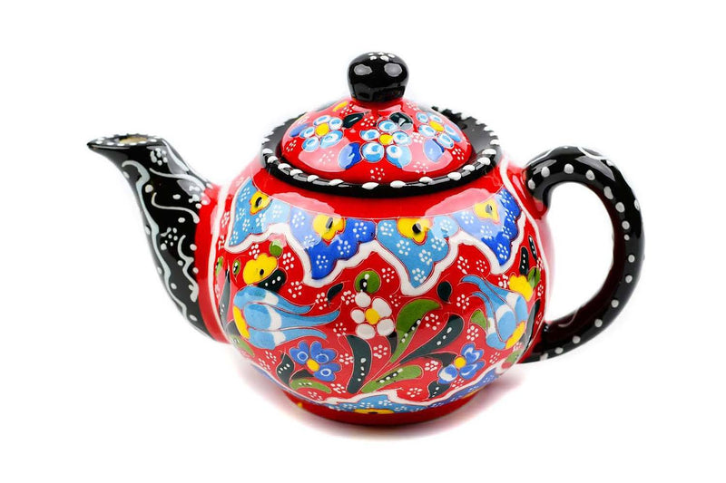 Turkish Ceramic Teapot Dantel Orange Blue Large