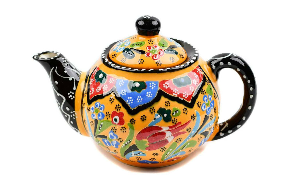 Turkish Decorative Teapot Small Flower Collection Yellow Ceramic Sydney Grand Bazaar