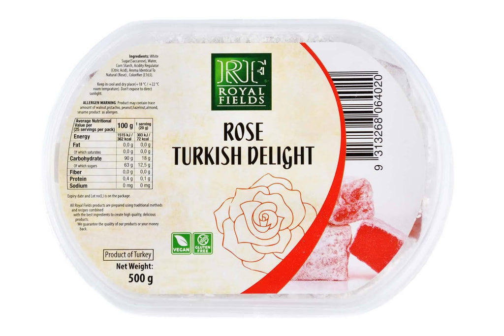 Turkish Delight Rose Flavoured 500g Turkish Pantry Royal Fields