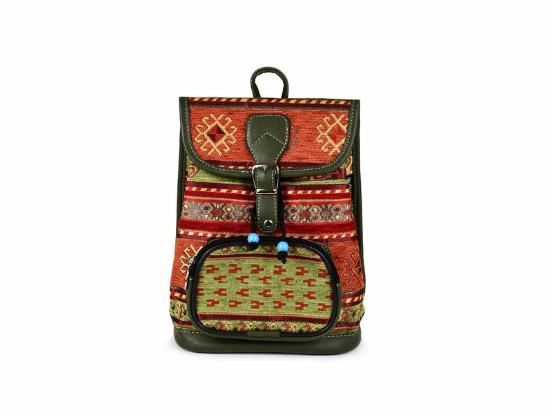 Turkish Handbag Backpack Aztec Light Green Rusty Textile Sydney Grand Bazaar