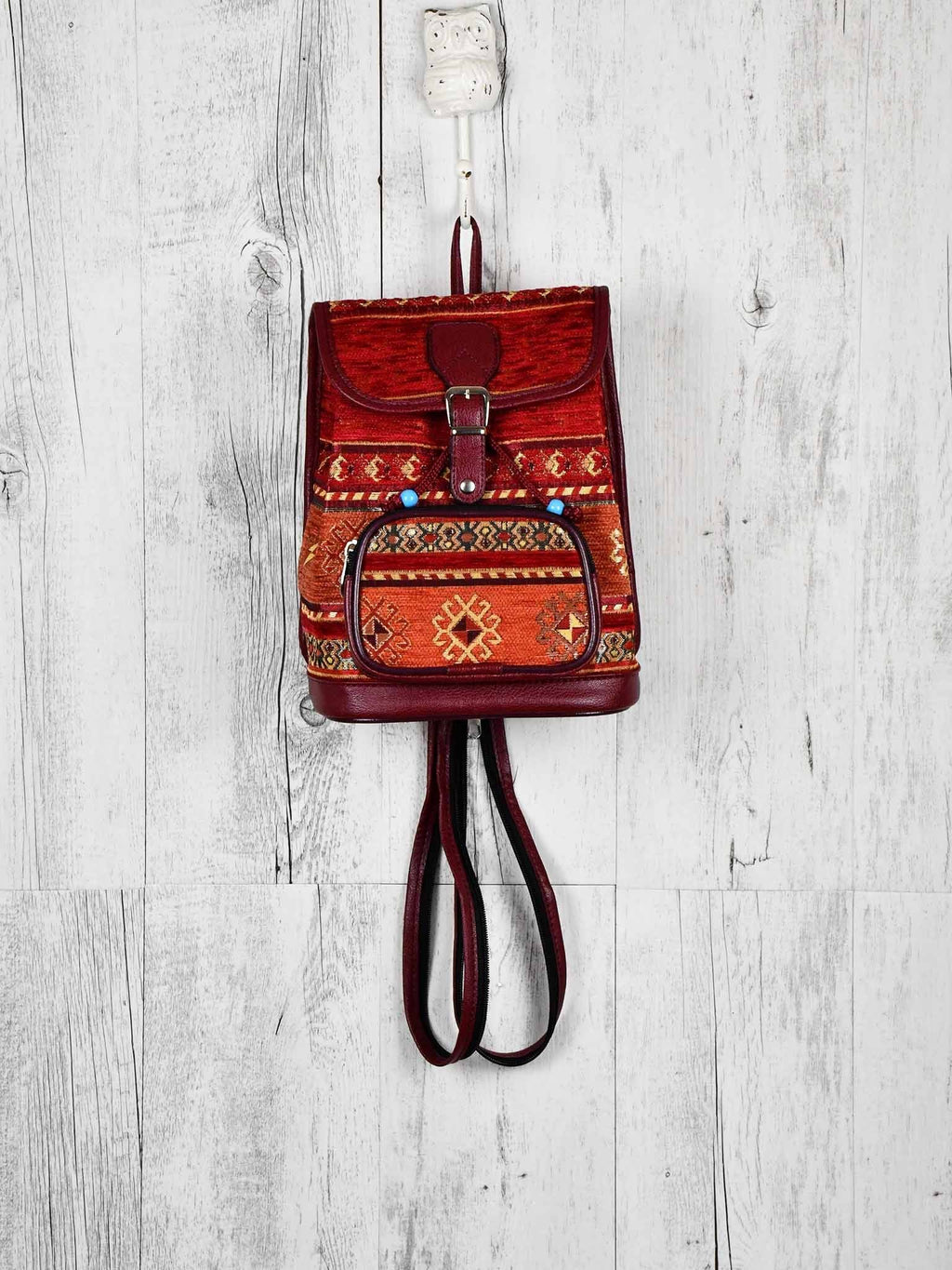 Turkish Handbag Backpack Aztec Red Rusty Textile Sydney Grand Bazaar